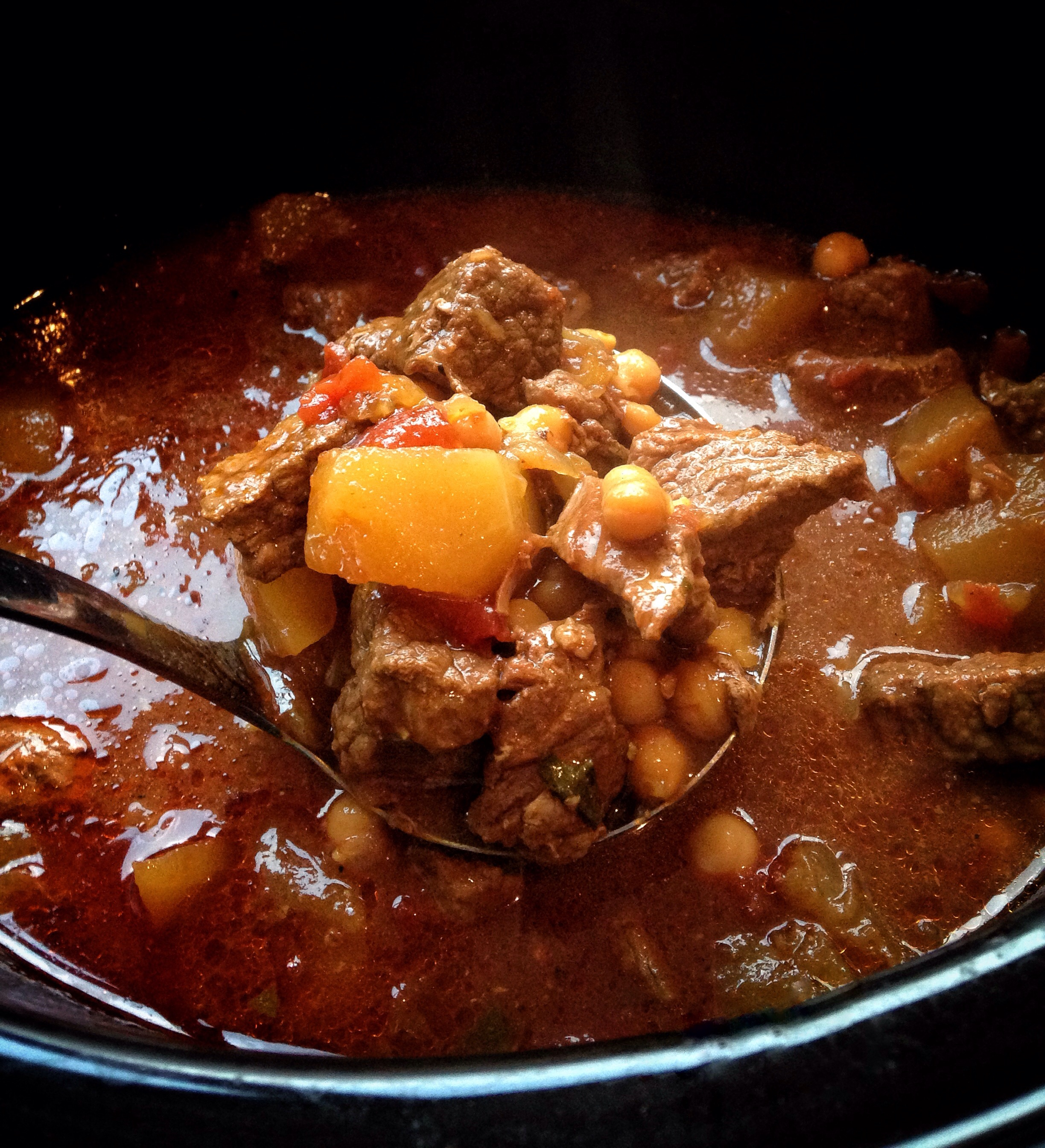 Pumpkin, beef and chickpea stew