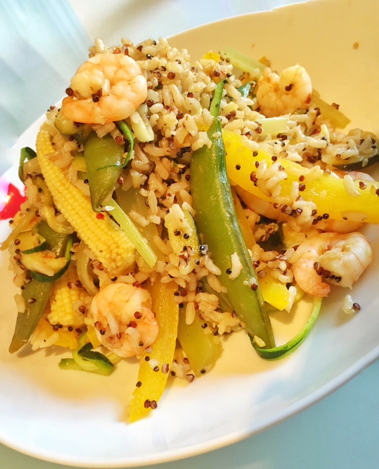 Lemon, honey and ginger prawns