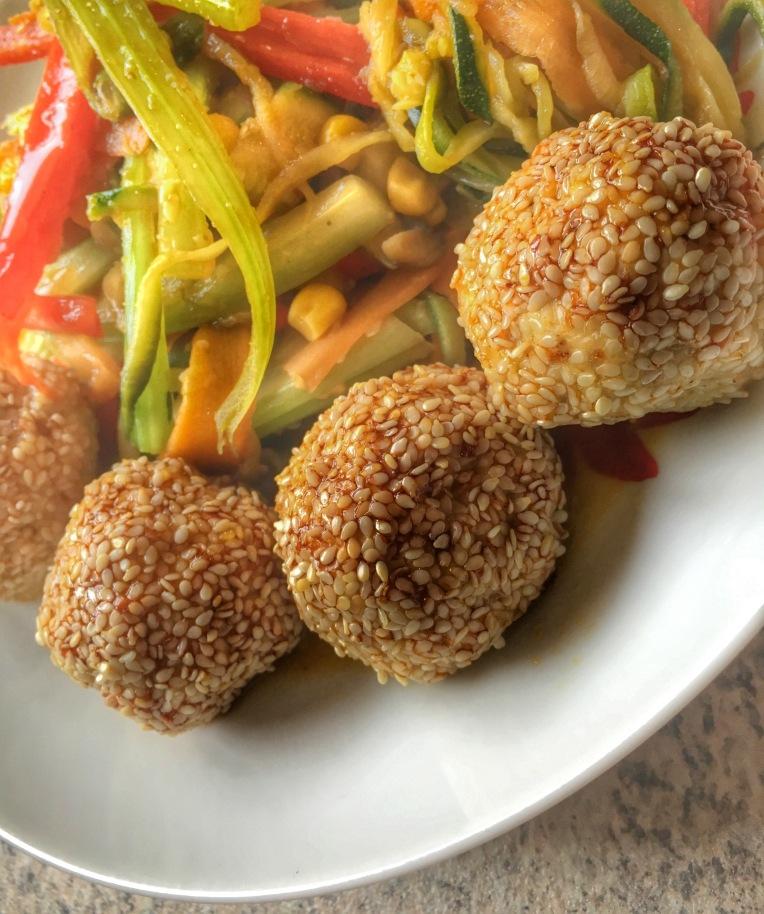 Chinese seasame pork balls